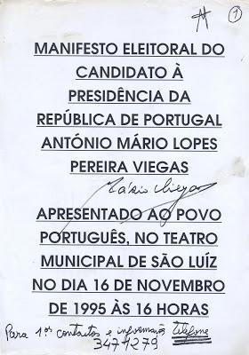 A primeira página do Manifesto Eleitoral de Mário Viegas