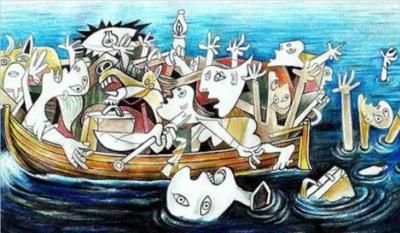 Aegean_Guernica_refugiados