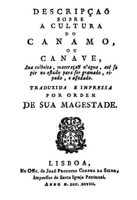 Volume dedicado à cultura do cânhamo impresso em Lisboa em 1798