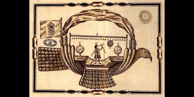 Gravura ilustrativa da invenção de Bartolomeu de Gusmão (A Passarola) que apresentou ao Rei D.João V de Portugal em 1709 um protótipo de balão de ar quente.