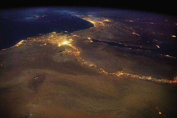 Foto de Chris Hadfield - Egipto e o Rio Nilo