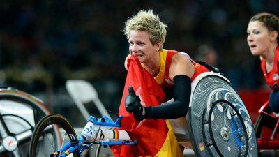 Marieke Vervoort, após a vitória nos 100 metros (T52), nos Jogos Paralímpicos de Londres, a 5 de Setembro de 2012. AFP/Adrian Dennis.