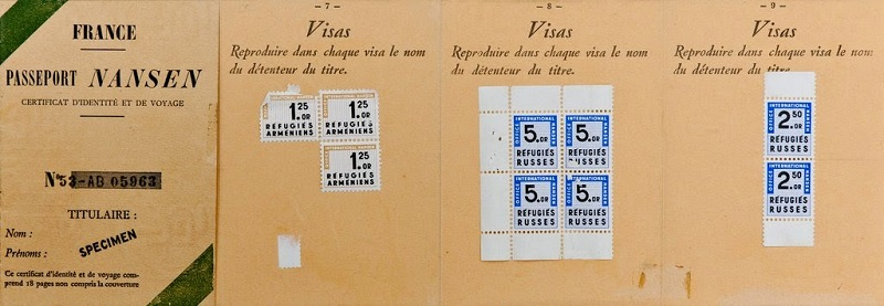 Passaporte de Nansen, usado por 40,1 milhões de refugiados sem-pátria entre 1914 e 1945, na Europa e Ásia