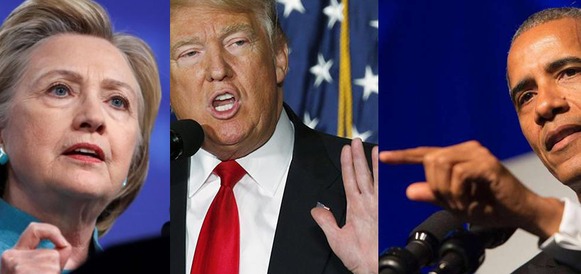 eleições americanas - insulto pessoal - Hillary, Trump e Obama
