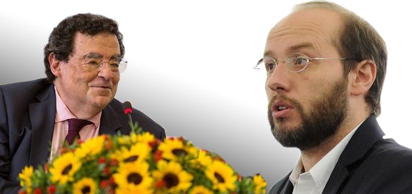 Professor catedrático Eduardo Paz Ferreira e o ex-eurodeputado Rui Tavares