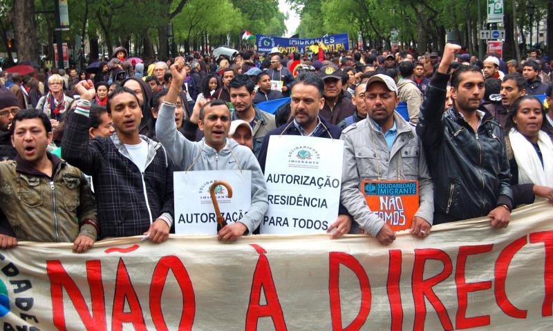 manifestação de imigrantes