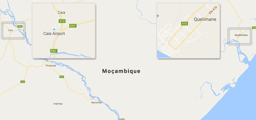 Mapa parcial de Moçambique | Caia e Quelimane