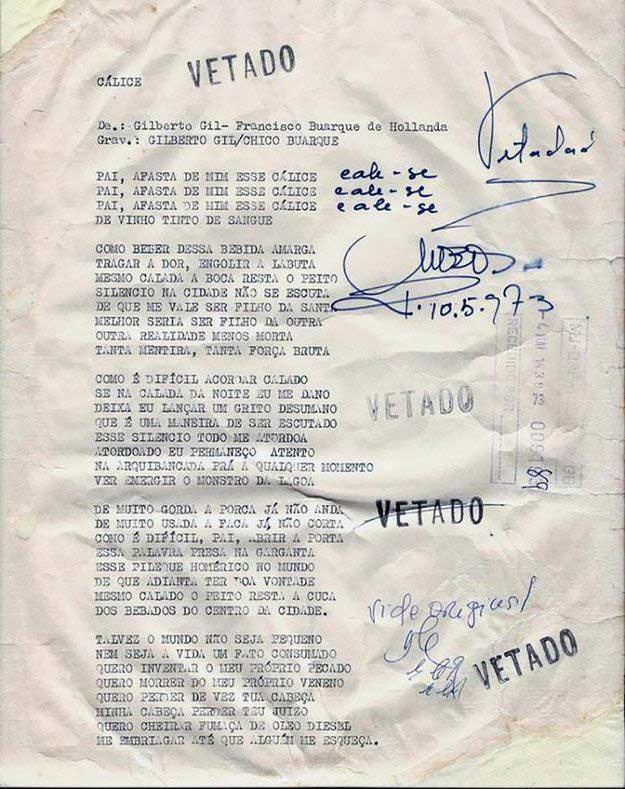 """""""Cálice"""", de Chico Buarque e Gilberto Gil, faixa dois do lado A do disco """"Chico Buarque"""", de 1978, em dueto com Milton Nascimento"""